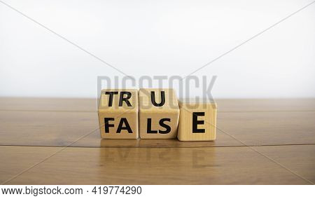 False Or True Symbol. Turned Wooden Cubes And Changed The Word 'false' To 'true' Or Vice Versa. Beau