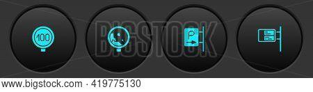 Set Speed Limit Traffic, Road Warning Rockfall, Parking And Ublic Transport Board Icon. Vector