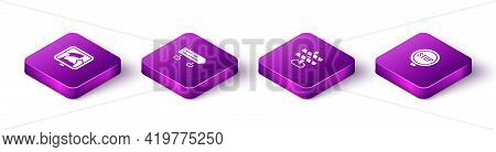 Set Isometric Drawbridge Ahead, Road Traffic Sign, Barrier And Stop Icon. Vector