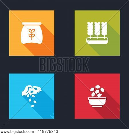 Set Bag Of Flour, Wheat, Seed And Seeds In Bowl Icon. Vector