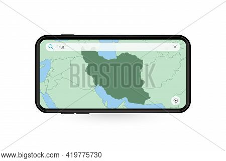 Searching Map Of Iran In Smartphone Map Application. Map Of Iran In Cell Phone. Vector Illustration.