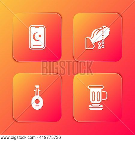 Set Star And Crescent, Hands In Praying Position, Lute And Medieval Goblet Icon. Vector