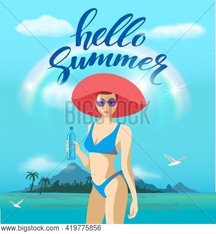 Beautiful Young Woman In A Swimsuit And A Big Hat On The Beach. Hello Summer. Beach Party Banner, Se