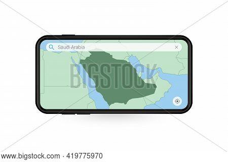 Searching Map Of Saudi Arabia In Smartphone Map Application. Map Of Saudi Arabia In Cell Phone. Vect