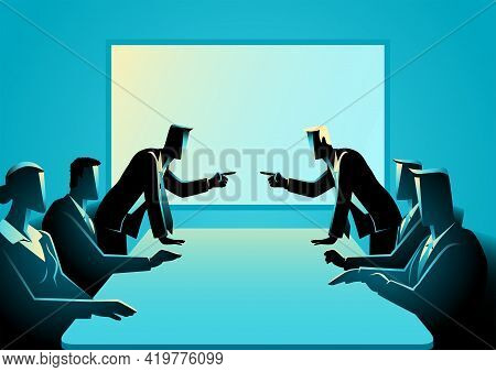 Vector Illustration Of Business People Arguing At Meeting Room