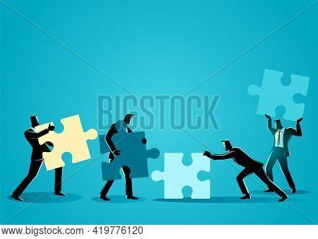Business Concept. Businessmen With Puzzle Piece. Teamwork, Partnership, Cooperation Concept