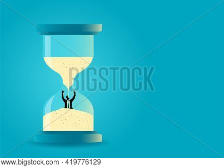 Vector Illustration Of A Hourglass With Businessman Drowning Inside. Time Management. Deadline Conce