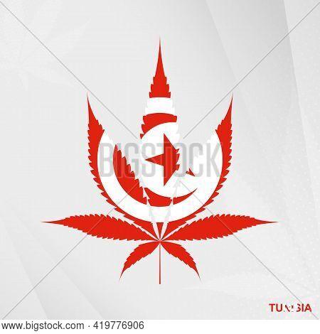 Flag Of Tunisia In Marijuana Leaf Shape. The Concept Of Legalization Cannabis In Tunisia. Medical Ca