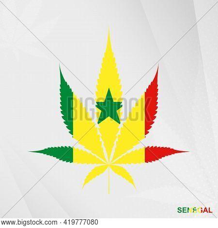 Flag Of Senegal In Marijuana Leaf Shape. The Concept Of Legalization Cannabis In Senegal. Medical Ca