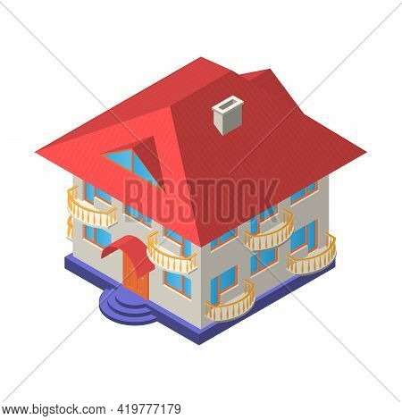 Two-storey House With An Attic And Balconies. Isometric Vector Illustration. Isolated On A White Bac