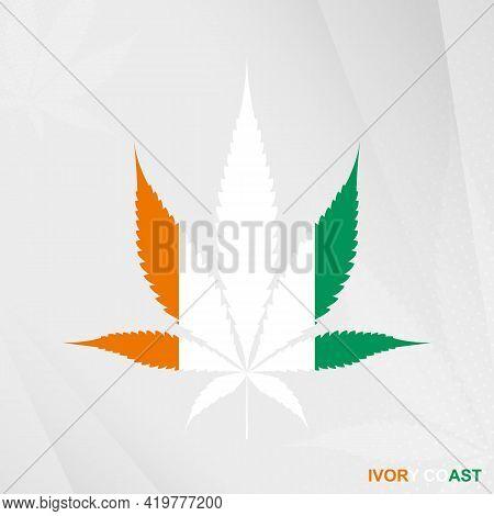 Flag Of Ivory Coast In Marijuana Leaf Shape. The Concept Of Legalization Cannabis In Ivory Coast. Me