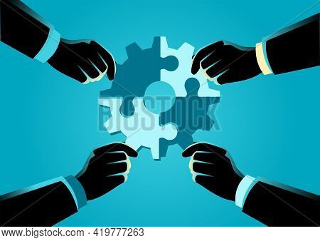 Business Concept Vector Illustration Of Hands Of Diverse People Assembling Jigsaw Puzzle Forming A G