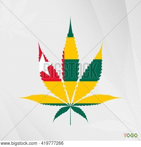 Flag Of Togo In Marijuana Leaf Shape. The Concept Of Legalization Cannabis In Togo. Medical Cannabis