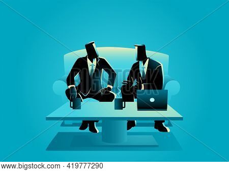 Business Vector Illustration Of Two Businessmen Having An Informal Meeting