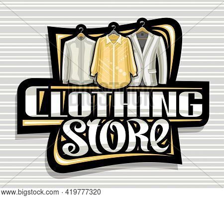 Vector Logo For Clothing Store, Dark Decorative Sign Board With Illustration Of Hanging Yellow Women
