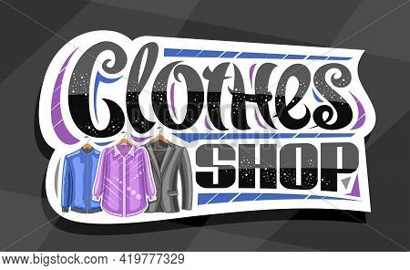 Vector Signage For Clothes Shop, White Decorative Sign Board With Illustration Of Hanging Purple Wom