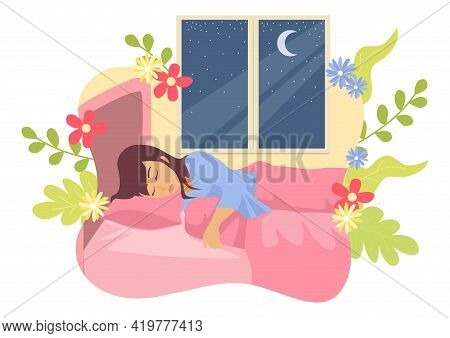Simple Flat Vector Illustration Of A Woman Sleeping In Her Bed With Decorative Nature As The Backgro