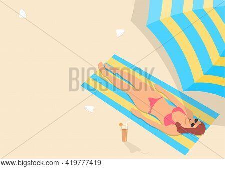 Simple Flat Vector Illustration Of A Woman Sunbathing In Pink Bikini
