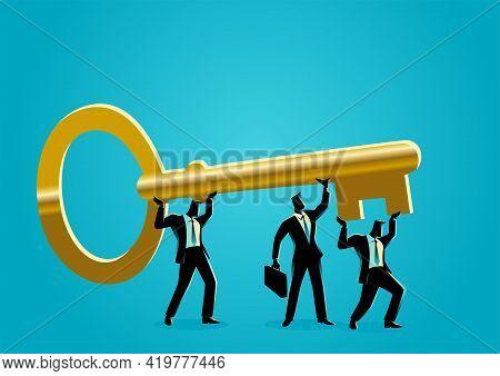 Business Concept Vector Illustration Of Businessmen Carrying Golden Key. Teamwork, Collaboration For
