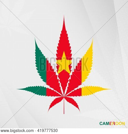 Flag Of Cameroon In Marijuana Leaf Shape. The Concept Of Legalization Cannabis In Cameroon. Medical