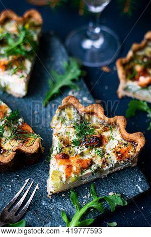 Homemade potato salmon tart with fresh dill