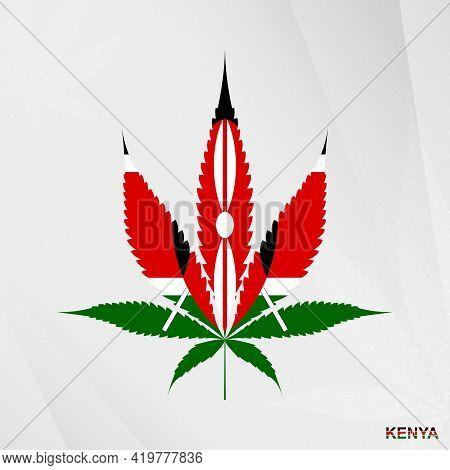 Flag Of Kenya In Marijuana Leaf Shape. The Concept Of Legalization Cannabis In Kenya. Medical Cannab