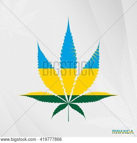 Flag Of Rwanda In Marijuana Leaf Shape. The Concept Of Legalization Cannabis In Rwanda. Medical Cann
