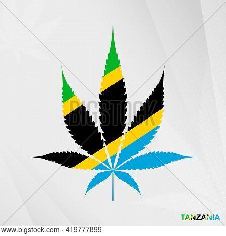 Flag Of Tanzania In Marijuana Leaf Shape. The Concept Of Legalization Cannabis In Tanzania. Medical