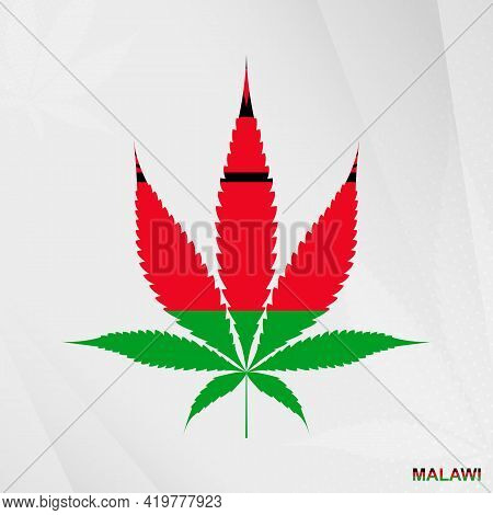 Flag Of Malawi In Marijuana Leaf Shape. The Concept Of Legalization Cannabis In Malawi. Medical Cann