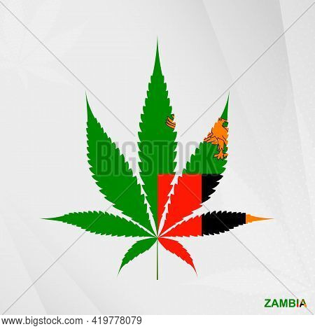 Flag Of Zambia In Marijuana Leaf Shape. The Concept Of Legalization Cannabis In Zambia. Medical Cann