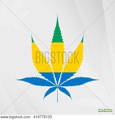 Flag Of Gabon In Marijuana Leaf Shape. The Concept Of Legalization Cannabis In Gabon. Medical Cannab