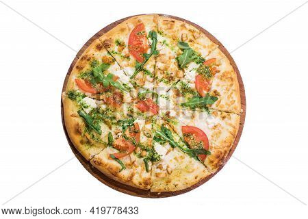 Toscana Pizza On Wooden Plate Isolated On White Background