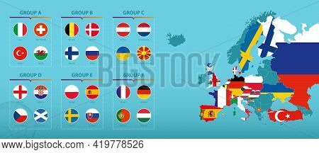 Europe Map With Highlighted European Football Tournament 2020 Participants Countries. Flag Collectio