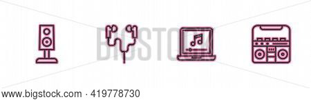 Set Line Stereo Speaker, Laptop With Music Note, Air Headphones And Home Stereo Speakers Icon. Vecto