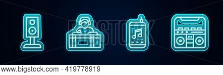 Set Line Stereo Speaker, Dj Playing Music, Music Player And Home Stereo With Speakers. Glowing Neon