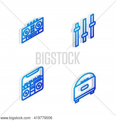 Set Isometric Line Music Equalizer, Dj Remote And Mixing Music, Home Stereo With Speakers And Stereo