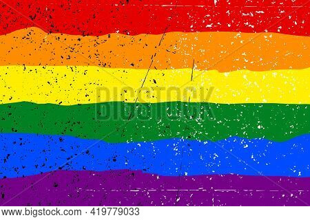 Lgbt Pride Flag Lesbian, Gay, Bisexual, Transgender. Rainbow Flag. Grunge Texture. Gay And Lesbian L