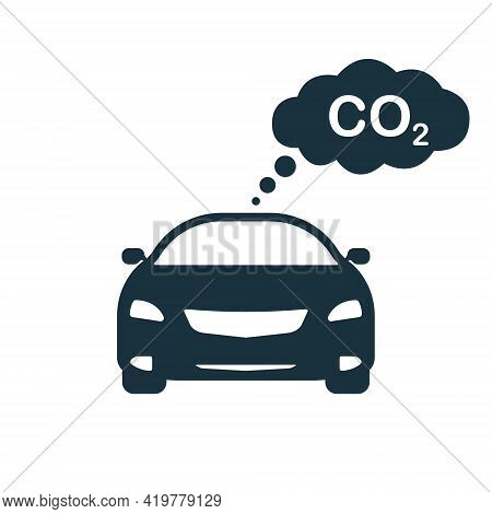 Car Emits Co2 Gas. Pollution Of Carbon Dioxide From Traffic. Co2 Cloud Gas Icon. Traffic Pollution F