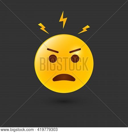 Angry Emoji Icon. Negative Thinking And Attitude. Angry Emotion And Reaction Of Yellow Emoji. Bad Be