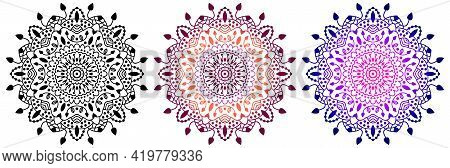 Mandala Set. Indian Antistress Medallion. Abstract Islamic Flower, Arabic Henna Design, Yoga Symbol.