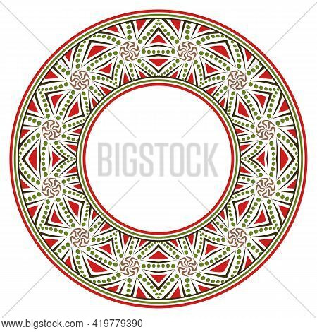 Decorative round ornament. Ceramic tile border. Pattern for plates or dishes. Islamic, indian, arabic motifs. Porcelain pattern design. Abstract floral ornament border. Vector stock illustration