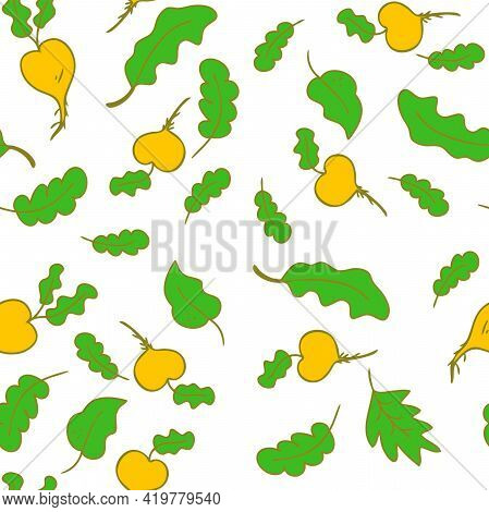 Hand-drawn Doodle Seamless Pattern Of Vegetable Turnip Isolated On A White Background