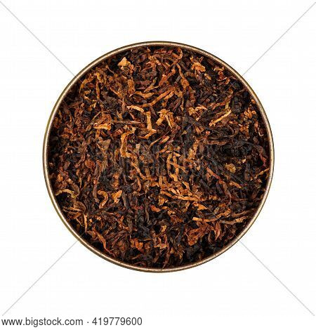 Close Up Round Tin Of Ready Rubbed Long Coarse Cut Pipe Tobacco Blend, Isolated On While Background,