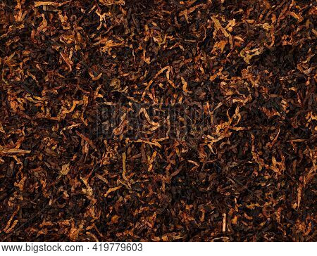 Close Up Background Of Ready Rubbed Long Coarse Cut Pipe Tobacco Blend, Elevated Top View, Directly