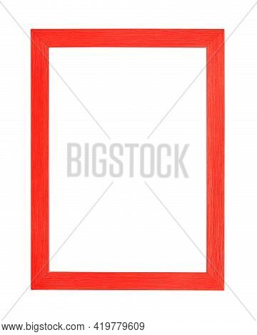 Modern Vivid Scarlet Red Color Painted Rectangular Vertical Frame For Picture Or Photo, Isolated On