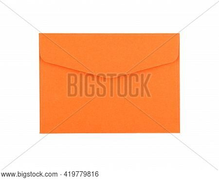 Closed Blank Vivid Orange Color Paper Envelope Isolated On White Background, Flat Lay, Directly Abov