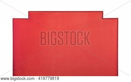 Coral Red Pink Soft Velvet Fabric Shaped Bed Headboard Isolated On White Background, Front View