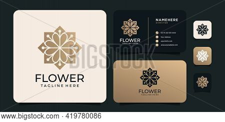 Luxury Golden Flower Logo Vector Concept For Spa Symbol. Logo Can Be Used For Icon, Brand, Identity,