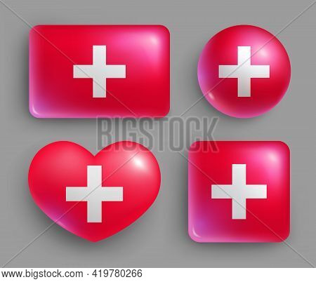 Glossy Buttons With Country Switzerland Flags Set. European Country National Flag Shiny Badges Of Di
