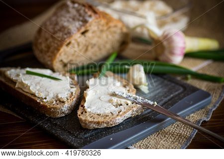Homemade Buckwheat Bread With Garlic Cheese Spread